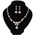 Bridal Swarovski Crystal/Simulated Pearl Bib Necklace & Drop Earrings Set In Silver Plating - 46cm Length/ 5cm Extension - view 3