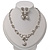 Bridal Swarovski Crystal/Simulated Pearl Bib Necklace & Drop Earrings Set In Silver Plating - 46cm Length/ 5cm Extension - view 9