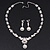 Bridal Swarovski Crystal/Simulated Pearl Bib Necklace & Drop Earrings Set In Silver Plating - 46cm Length/ 5cm Extension - view 2