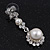 Bridal Swarovski Crystal/Simulated Pearl Bib Necklace & Drop Earrings Set In Silver Plating - 46cm Length/ 5cm Extension - view 8