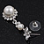 Bridal Swarovski Crystal/Simulated Pearl Bib Necklace & Drop Earrings Set In Silver Plating - 46cm Length/ 5cm Extension - view 6