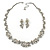 Bridal 'Flower' Simulated Pearl/Crystal Necklace & Drop Earring Set In Silver Metal - 46cm Length/6cm Extension) - view 7