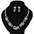 Bridal 'Flower' Simulated Pearl/Crystal Necklace & Drop Earring Set In Silver Metal - 46cm Length/6cm Extension) - view 3