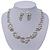 Bridal 'Flower' Simulated Pearl/Crystal Necklace & Drop Earring Set In Silver Metal - 46cm Length/6cm Extension) - view 10