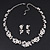 Bridal 'Flower' Simulated Pearl/Crystal Necklace & Drop Earring Set In Silver Metal - 46cm Length/6cm Extension) - view 9