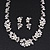 Bridal 'Flower' Simulated Pearl/Crystal Necklace & Drop Earring Set In Silver Metal - 46cm Length/6cm Extension) - view 6