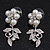 Bridal 'Flower' Simulated Pearl/Crystal Necklace & Drop Earring Set In Silver Metal - 46cm Length/6cm Extension) - view 8