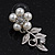 Bridal 'Flower' Simulated Pearl/Crystal Necklace & Drop Earring Set In Silver Metal - 46cm Length/6cm Extension) - view 11