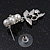 Bridal 'Flower' Simulated Pearl/Crystal Necklace & Drop Earring Set In Silver Metal - 46cm Length/6cm Extension) - view 5