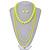 3-Piece Neon Yellow Acrylic Necklace & Drop Earrings Set - 102cm Length