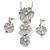 'Triple Flower' Milky White Enamel Diamante Necklace & Drop Earrings Set In Rhodium Plated Metal - 38cm Length (6cm extender)