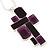 Grape Soda Purple 'Summer Shapes' Necklace & Drop Earrings Set In Matte Silver Plating - 40cm Length/ 7cm Extension - view 5