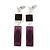Grape Soda Purple 'Summer Shapes' Necklace & Drop Earrings Set In Matte Silver Plating - 40cm Length/ 7cm Extension - view 4