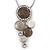 Rhodium Plated Light Grey Enamel, Crystal 'Multi Circle' Pendant & Drop Earrings Set - 38cm Length/ 5cm Extension - view 2
