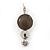Rhodium Plated Light Grey Enamel, Crystal 'Multi Circle' Pendant & Drop Earrings Set - 38cm Length/ 5cm Extension - view 3