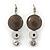 Rhodium Plated Light Grey Enamel, Crystal 'Multi Circle' Pendant & Drop Earrings Set - 38cm Length/ 5cm Extension - view 4