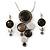 Rhodium Plated Graphite Grey Enamel, Crystal 'Multi Circle' Pendant & Drop Earrings Set - 38cm Length/ 5cm Extension