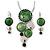 Rhodium Plated Grass Green Enamel, Crystal 'Multi Circle' Pendant & Drop Earrings Set - 38cm Length/ 5cm Extension