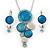 Rhodium Plated Aqua Blue Enamel, Crystal 'Multi Circle' Pendant & Drop Earrings Set - 38cm Length/ 5cm Extension
