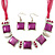 Fuchsia Enamel Square Station Cotton Cords Necklace & Drop Earrings In Rhodium Plating Set - 36cm Length/ 6cm Extension