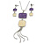 Purple/ Cream Enamel Square Tassel Pendant & Drop Earrings Set In Rhodium Plating - 38cm Length/ 5cm Extension
