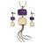 Purple/ Cream Enamel Square Tassel Pendant & Drop Earrings Set In Rhodium Plating - 38cm Length/ 5cm Extension - view 7