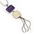 Purple/ Cream Enamel Square Tassel Pendant & Drop Earrings Set In Rhodium Plating - 38cm Length/ 5cm Extension - view 2