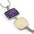 Purple/ Cream Enamel Square Tassel Pendant & Drop Earrings Set In Rhodium Plating - 38cm Length/ 5cm Extension - view 3