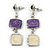 Purple/ Cream Enamel Square Tassel Pendant & Drop Earrings Set In Rhodium Plating - 38cm Length/ 5cm Extension - view 4