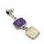 Purple/ Cream Enamel Square Tassel Pendant & Drop Earrings Set In Rhodium Plating - 38cm Length/ 5cm Extension - view 6