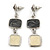 Grey/ Cream Enamel Square Tassel Pendant & Drop Earrings Set In Rhodium Plating - 38cm Length/ 5cm Extension - view 5