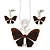 Brown Glass 'Butterfly' Necklace & Drop Earrings Set In Silver Tone - 38cm Length/ 5cm Extension