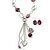Long Purple Resin Nugget Tassel Necklace and Earring Set In Silver Tone - 78cm Length (5cm extension) - view 2