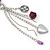 Long Purple Resin Nugget Tassel Necklace and Earring Set In Silver Tone - 78cm Length (5cm extension) - view 8