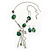 Long Green Resin Nugget Tassel Necklace and Earring Set In Silver Tone - 78cm Length (5cm extension)