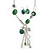 Long Green Resin Nugget Tassel Necklace and Earring Set In Silver Tone - 78cm Length (5cm extension) - view 2