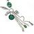 Long Green Resin Nugget Tassel Necklace and Earring Set In Silver Tone - 78cm Length (5cm extension) - view 3