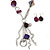 Long Purple Resin and Wood Nugget Tassel Necklace and Earring Set In Silver Tone - 76cm Length (4cm extension) - view 2