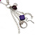 Long Purple Resin and Wood Nugget Tassel Necklace and Earring Set In Silver Tone - 76cm Length (4cm extension) - view 8