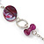 Long Purple Resin and Wood Nugget Tassel Necklace and Earring Set In Silver Tone - 76cm Length (4cm extension) - view 10