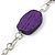 Long Purple Resin and Wood Nugget Tassel Necklace and Earring Set In Silver Tone - 76cm Length (4cm extension) - view 11