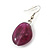 Long Purple Resin and Wood Nugget Tassel Necklace and Earring Set In Silver Tone - 76cm Length (4cm extension) - view 12