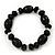 Black Glass/Crystal Bead Necklace, Flex Bracelet & Drop Earrings Set In Silver Plating - 44cm Length/ 5cm Extension - view 3
