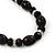 Black Glass/Crystal Bead Necklace, Flex Bracelet & Drop Earrings Set In Silver Plating - 44cm Length/ 5cm Extension - view 4