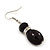 Black Glass/Crystal Bead Necklace, Flex Bracelet & Drop Earrings Set In Silver Plating - 44cm Length/ 5cm Extension - view 5
