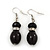 Black Glass/Crystal Bead Necklace, Flex Bracelet & Drop Earrings Set In Silver Plating - 44cm Length/ 5cm Extension - view 6