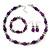 Purple Glass/Crystal Bead Necklace, Flex Bracelet & Drop Earrings Set In Silver Plating - 44cm Length/ 5cm Extension