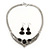 Ethnic Burn Silver Hammered, Black Ceramic Stone Necklace With T-Bar Closure & Drop Earrings Set - 40cm Length - view 2