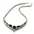 Ethnic Burn Silver Hammered, Black Ceramic Stone Necklace With T-Bar Closure & Drop Earrings Set - 40cm Length - view 4