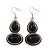 Ethnic Burn Silver Hammered, Black Ceramic Stone Necklace With T-Bar Closure & Drop Earrings Set - 40cm Length - view 6